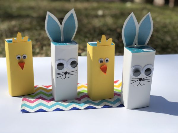 Easter Bunny  kids craft using  construction paper and a juice box
