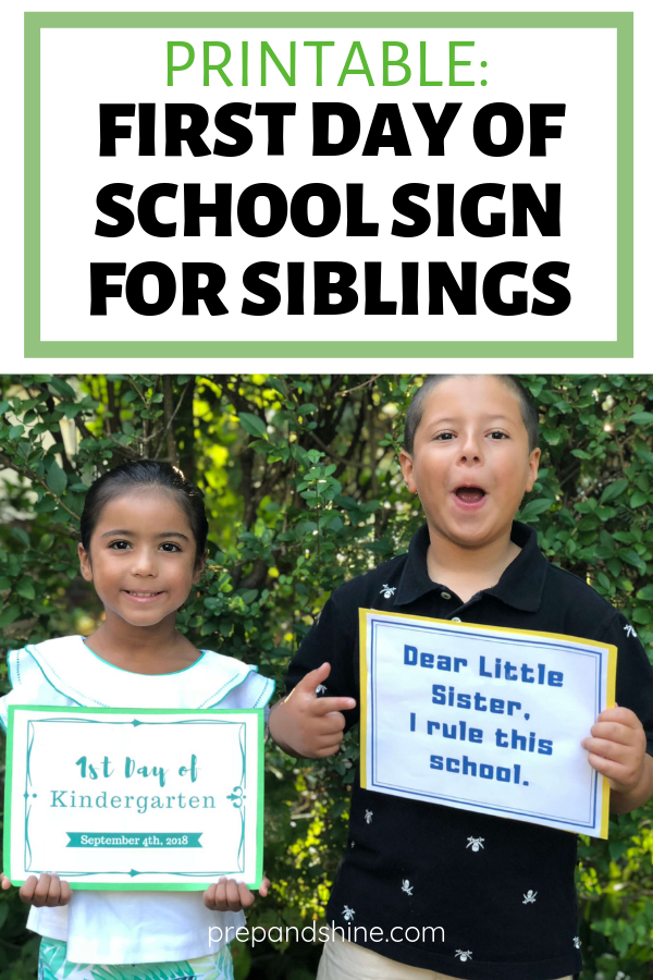 Printable Funny First Day Of School Signs For Siblings Prep And